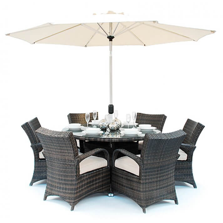 **ex-display** texas 6 seater round table rattan garden furniture set - DVGNBAG