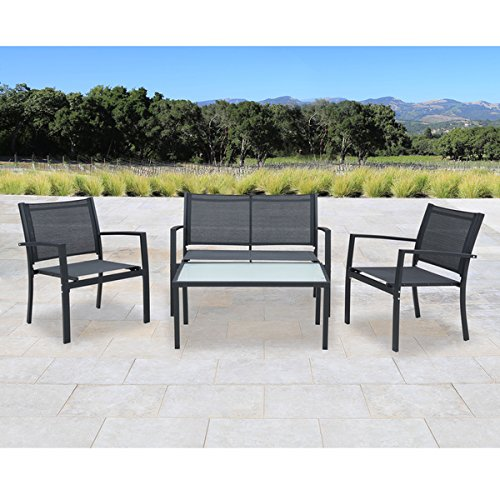 accessories for a garden furniture Set antonio 4-piece black steel textilene fabric outdoor furniture set with  glass UGBAWKY