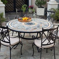 accessories for a garden furniture Set palazetto barcelona round mosaic patio dining set - seats 6 - contemporary ZOWQDEC