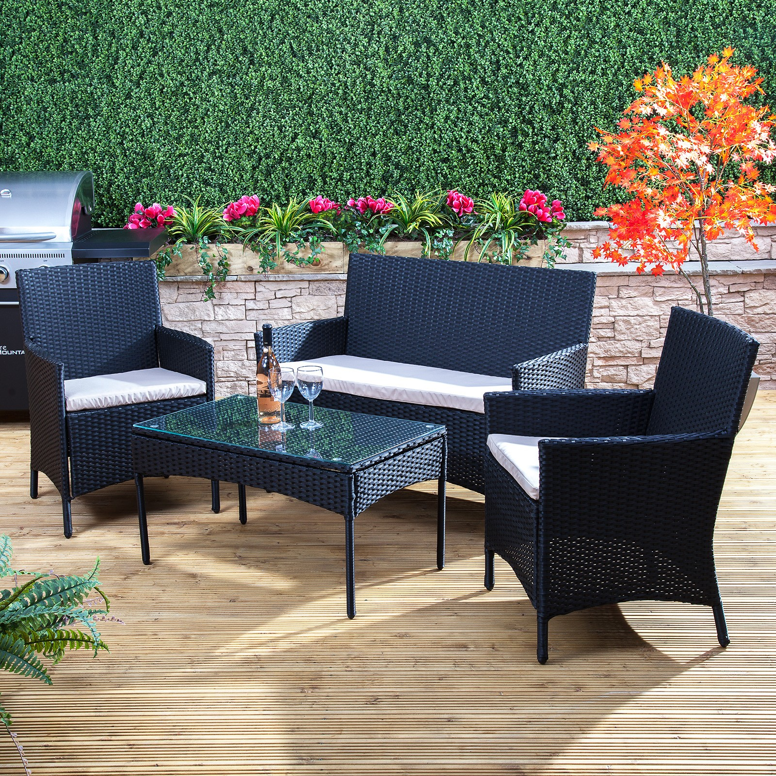 bordeaux poly-rattan garden furniture set ZNREFJA