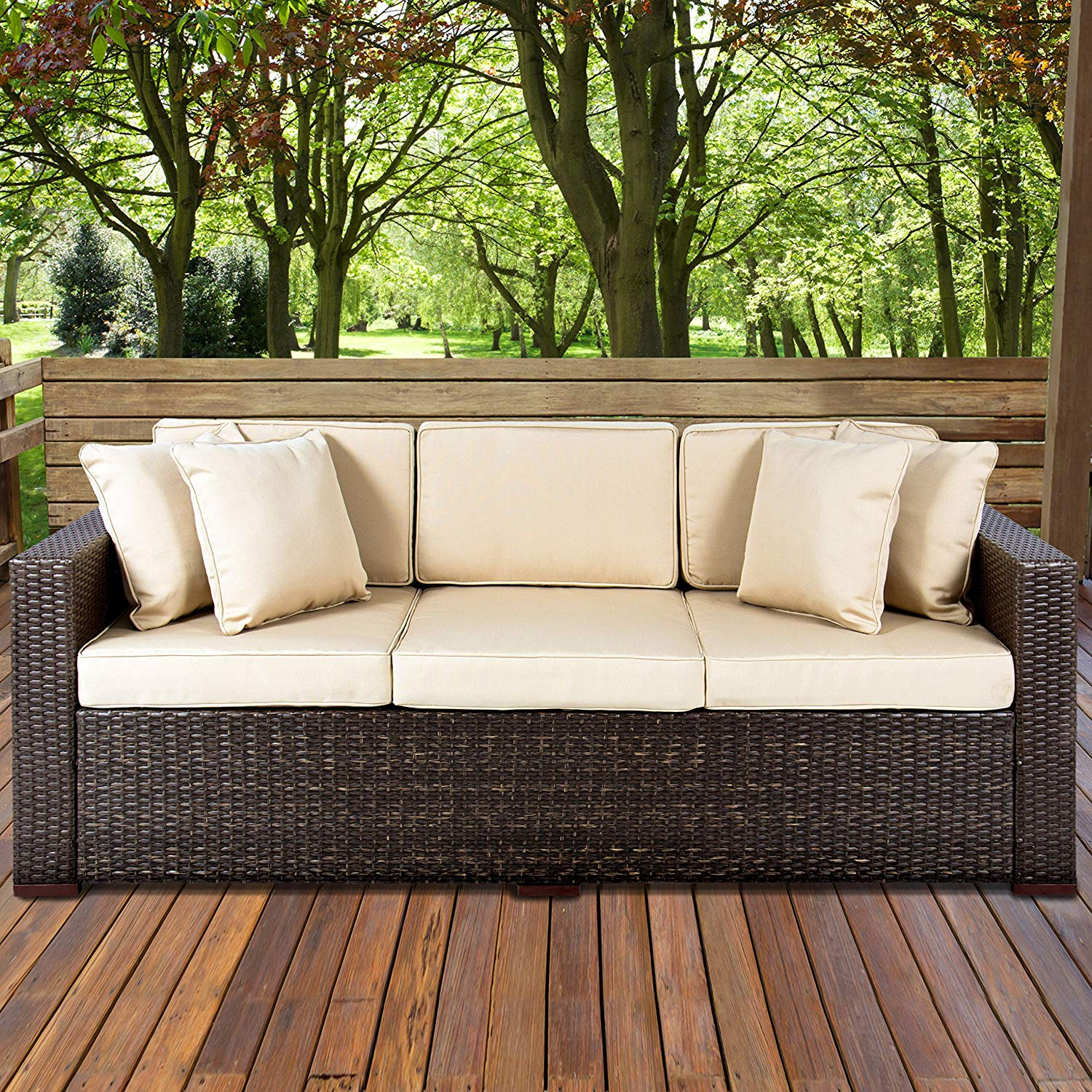 Cheap patio furniture amazon.com : best choice products 3-seat outdoor wicker sofa couch patio IKGZSXH