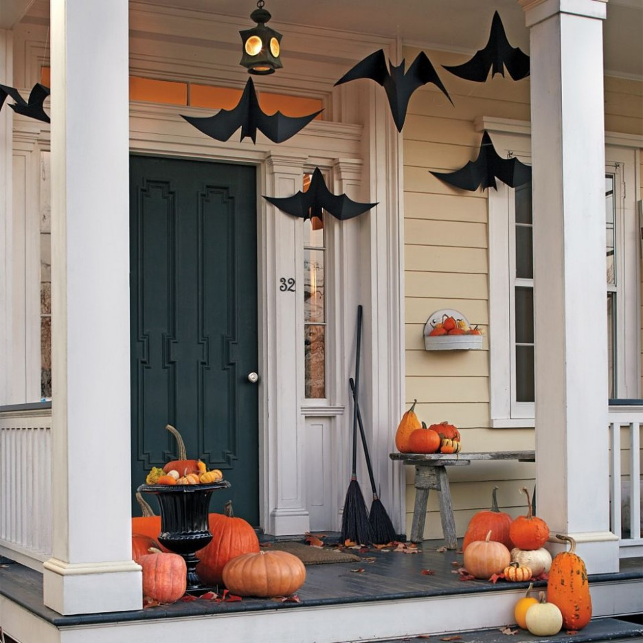 decorating ideas for halloween front porch hanging paper bats MHQWDHK