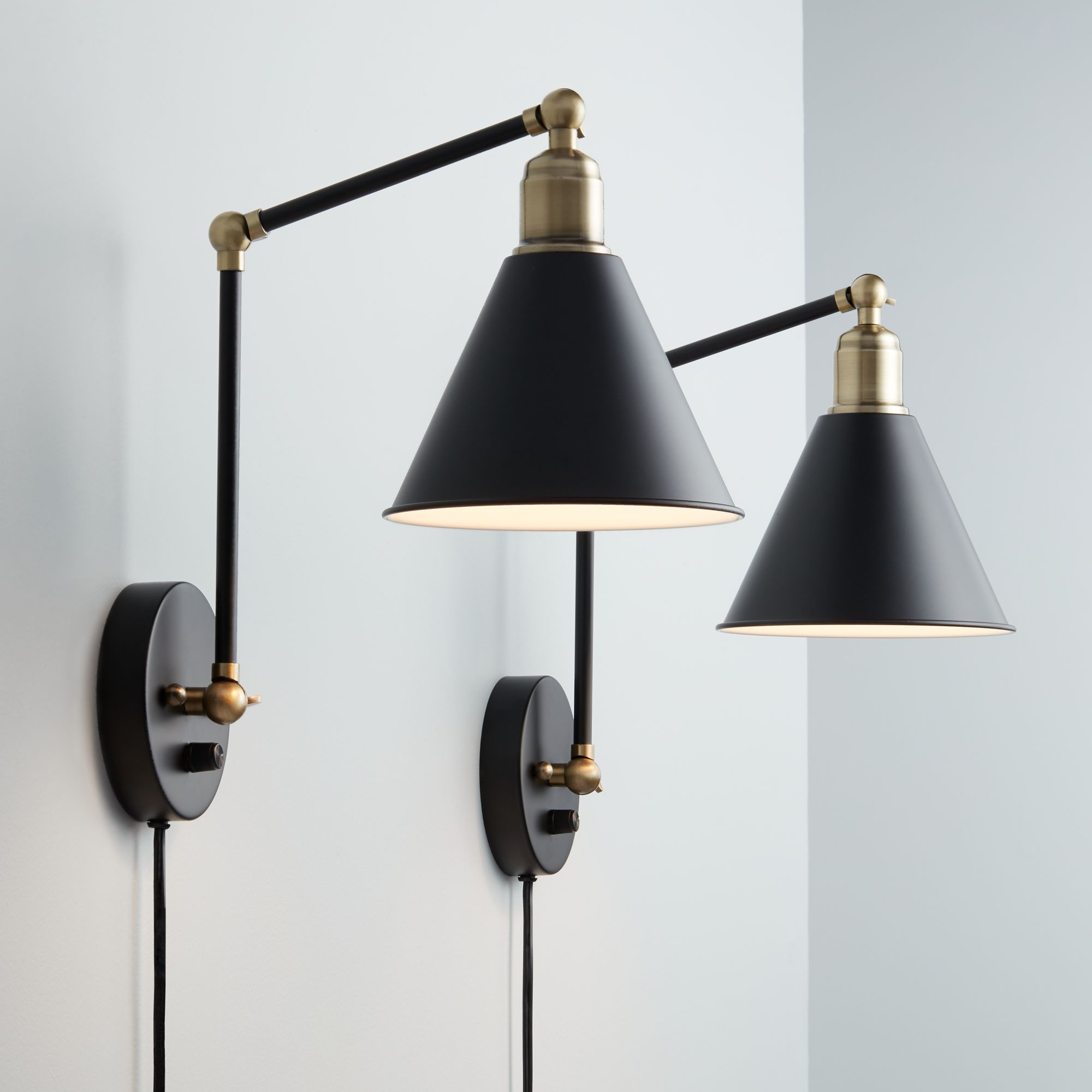 decorative wall lamps wray black and antique brass plug-in wall lamp set of 2 MOPWJXW