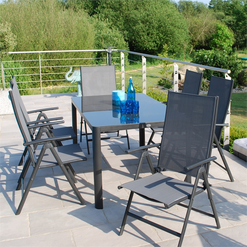 garden furniture Sets creador tempo aluminium 6 seater folding garden furniture set VQAJTEM