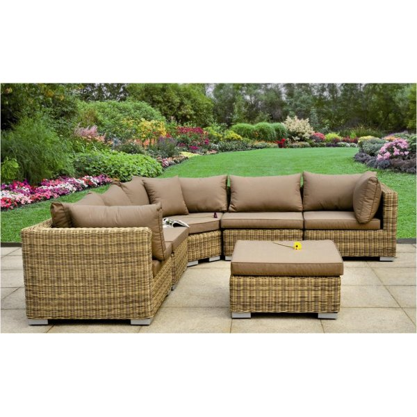 Garden Lounge Furniture modena 6 or 7 piece rattan modular garden lounge set JXTBVWT