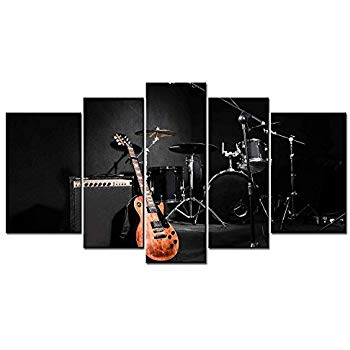 panel shelves for musical decoration 5 panel giclee canvas print artwork music of the band guitar and INDNKZT