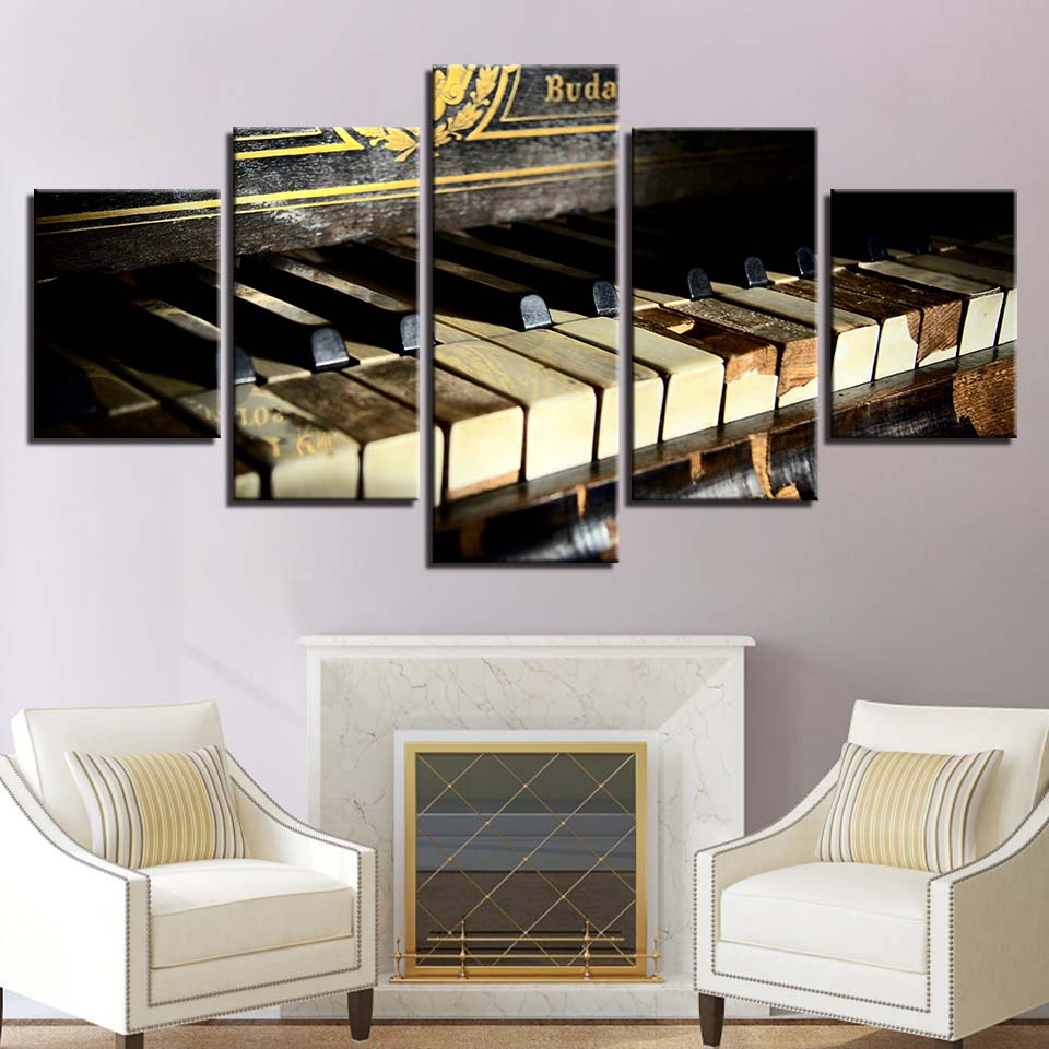 panel shelves for musical decoration framework poster canvas painting wall art home decor 5 panel piano UHNGAEV