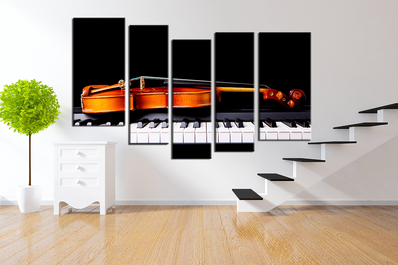 panel shelves for musical decoration living room art, 5 piece canvas wall art, violin decor, music artwork, DAZWVML