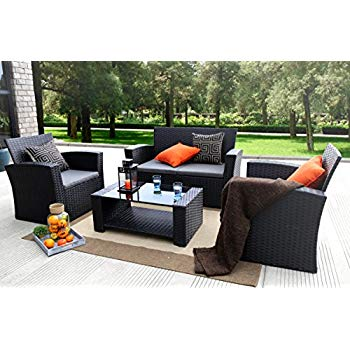 rattan garden furniture baner garden (n87) 4 pieces outdoor furniture complete patio cushion wicker VTQYHJS