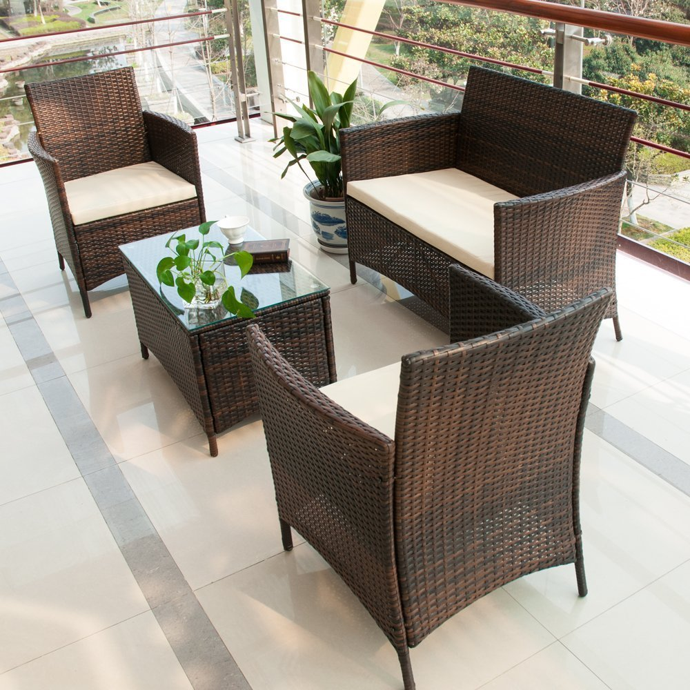 Rattan Garden Furniture Set merax 4 pcs patio rattan furniture set CHZJSGS