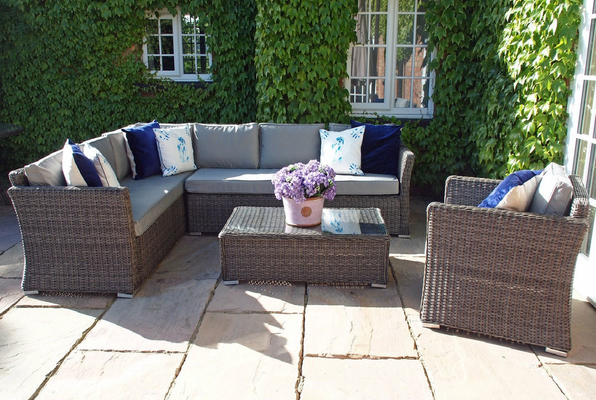 Rattan Garden Furniture Set venice lhf corner sofa armchair and coffee table set oakita within corner PRERIUT