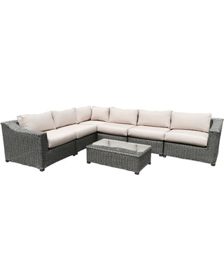 Rattan Seating Group dutil 7 piece rattan sunbrella sectional seating group with cushions UDMKVTY