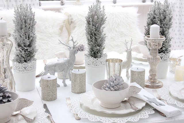 winter decorating ideas winter tablescape LMWVMCW