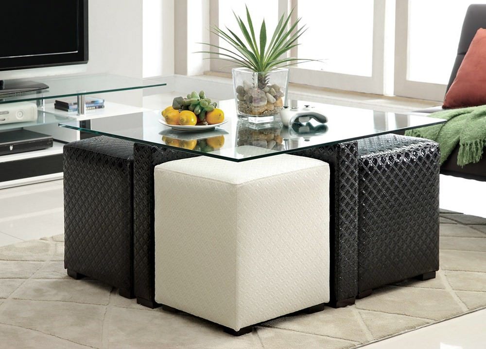 square coffee table with stools underneath TFXKYQI