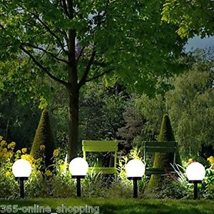 Garden Lights image is loading modern-large-solar-powered-white-globe-ball-garden- IJNVHNG