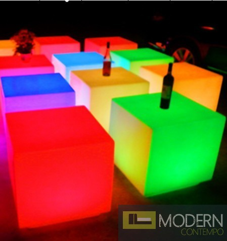 Illuminated furniture illuminated furniture rechargeable led cube with color change remote REJQJUP