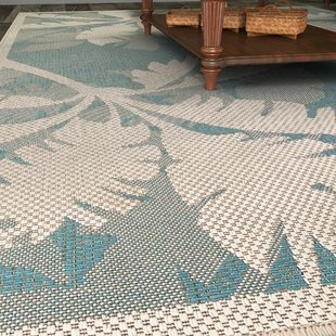 Outdoor rugs odilia coastal flora ivory/turquoise indoor/outdoor area rug HVFIBZV