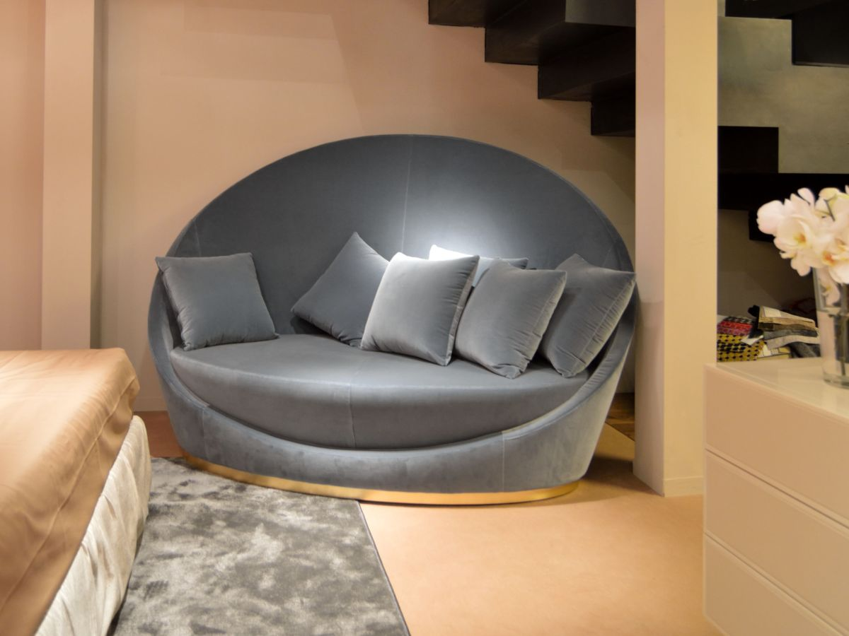 Round sofa high back fabric round sofa BOWYLLA