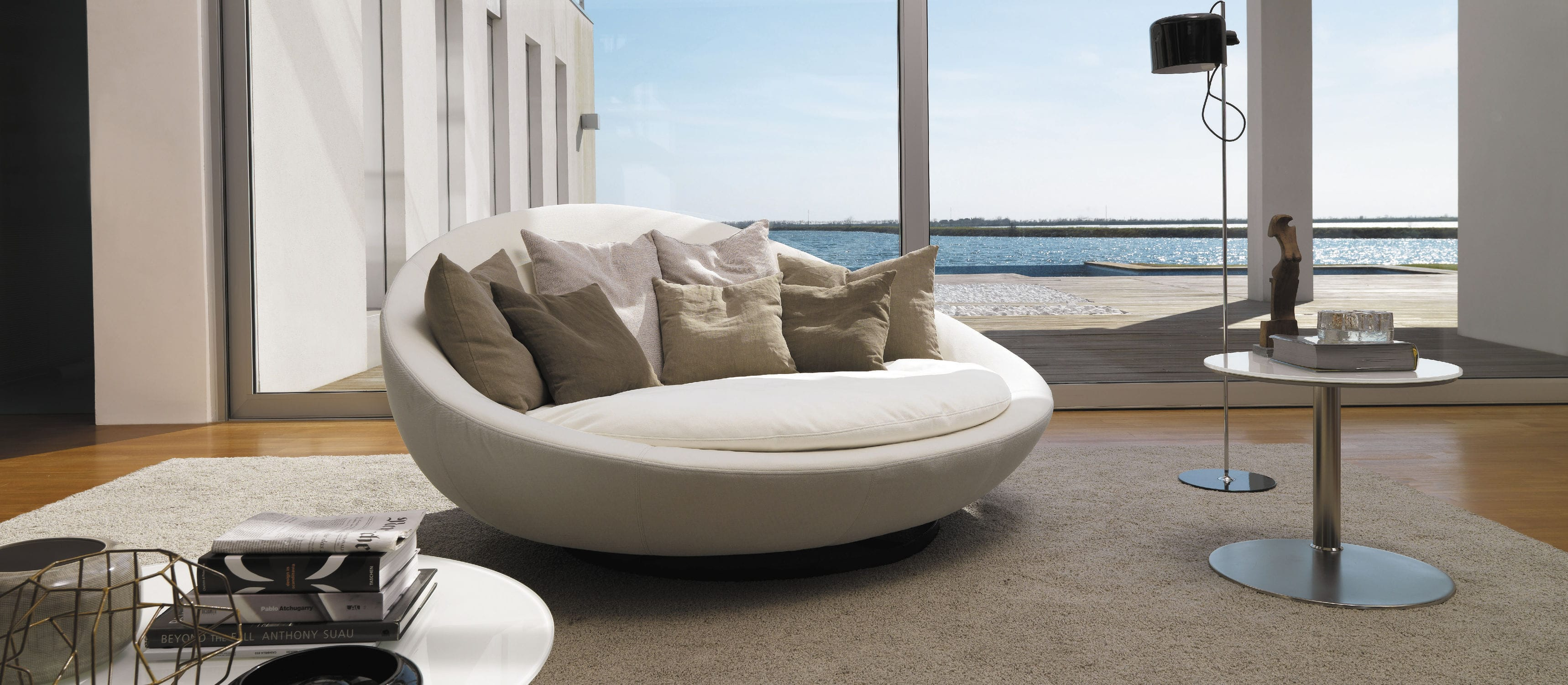 Round sofa round sofa / contemporary / leather / fabric ... UFAPGFF