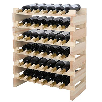 smartxchoices 36 bottle stackable modular wine rack small wine storage rack  free standing solid natural ECNQQLS