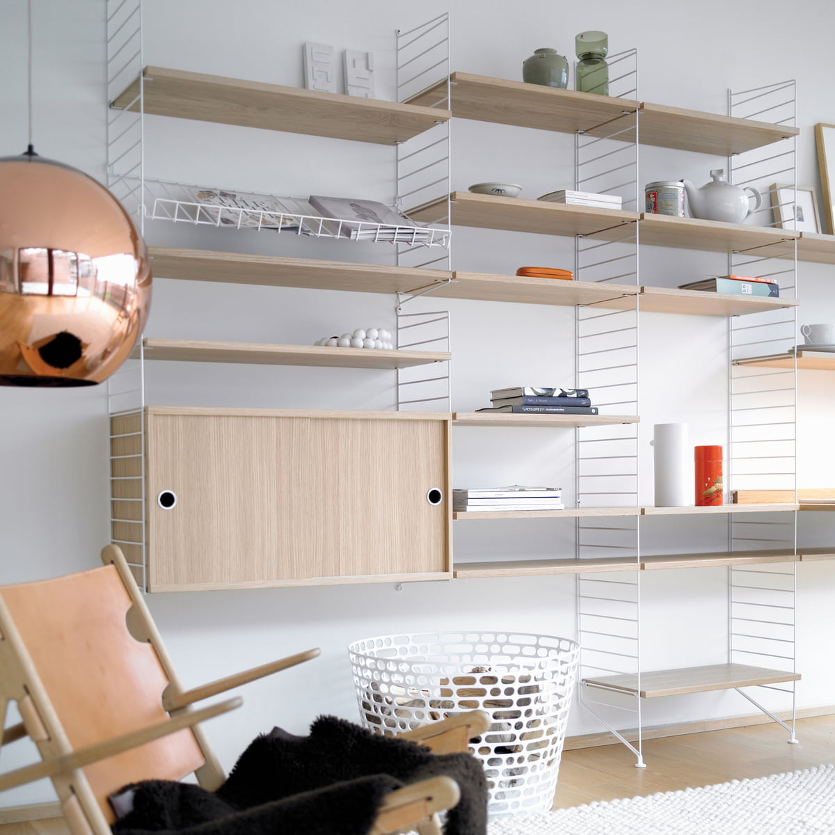 String Shelving System string self system, white / oak HZHMEYC