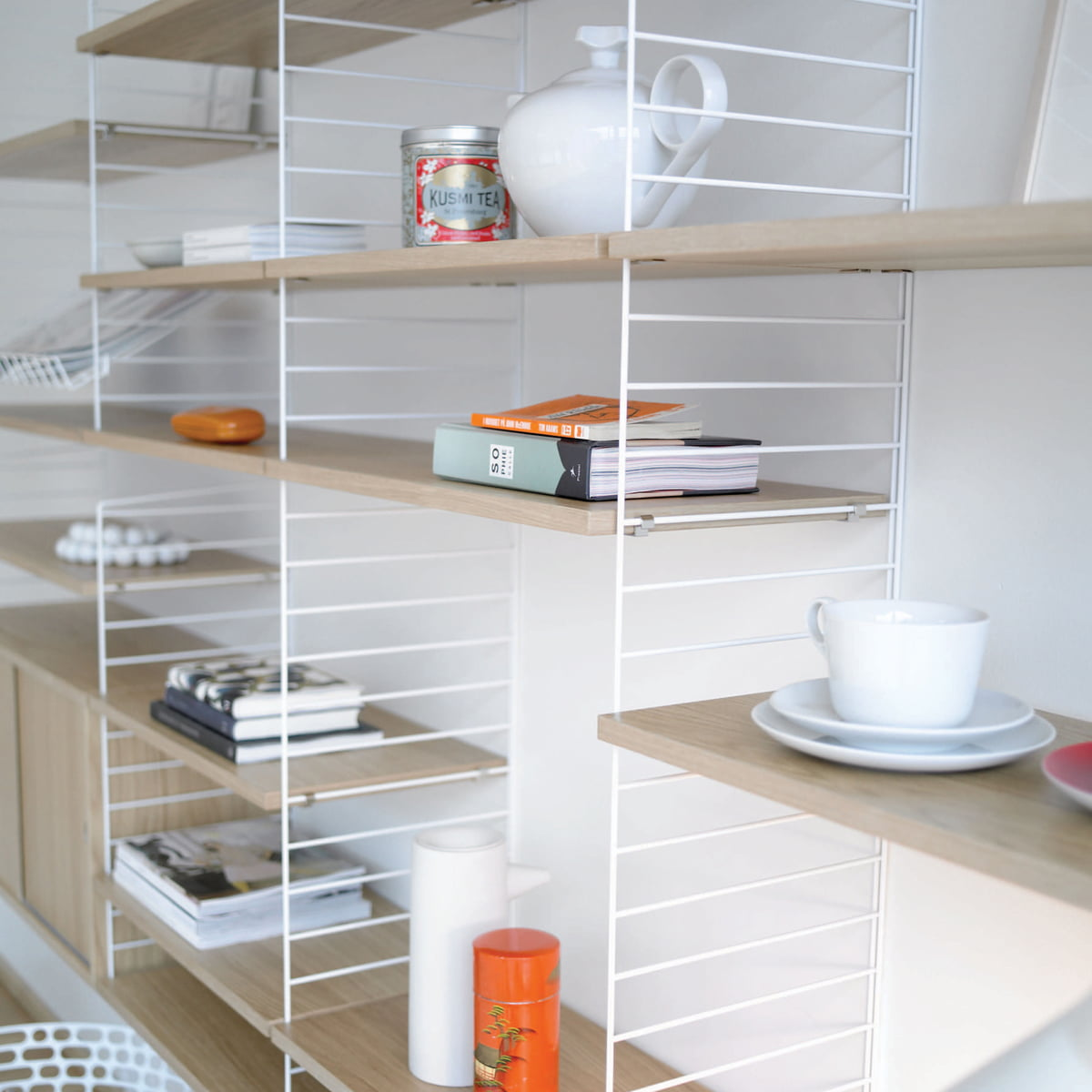 String Shelving System string shelf system, white/ oak ENLOTYE