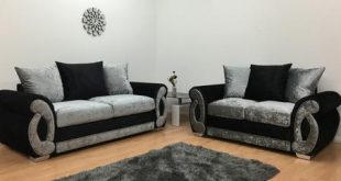 Chloe Crushed Velvet Silver & Black 2+3 Seater Sofa u2013 Glamour Homes UK