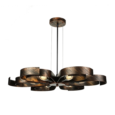 6 Light Petal Semi Flush Ceiling Light in Rust/Copper Vintage