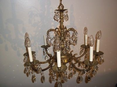 ANTIQUE CHANDELIER VINTAGE BRASS CHANDELIERS * Made in Spain * 8