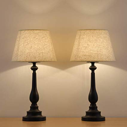 HAITRAL Table Lamps Set of 2 - Vintage Bedside Desk Lamps with Mini