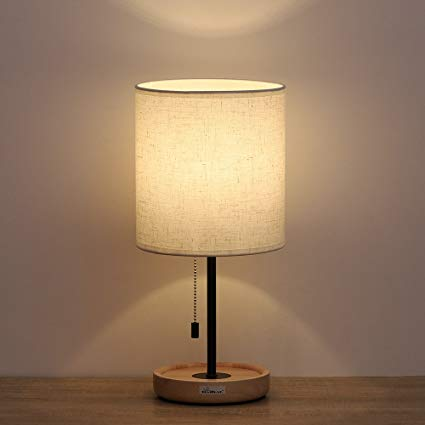 HAITRAL Night Stand Table Lamps - Modern Table Lamps with Linen