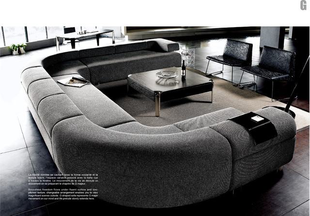 Sofas: Fabulous Gray Modern Style Big Sofas With Coffee Table, Small