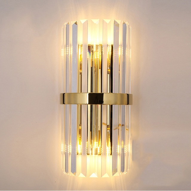 led crystal rose gold wall lamp bedroom wall mounted decor elegant