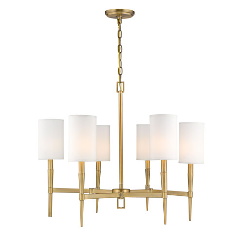 251 First Selby Warm Brass Six Light Chandelier B2101 Wb | Bellacor