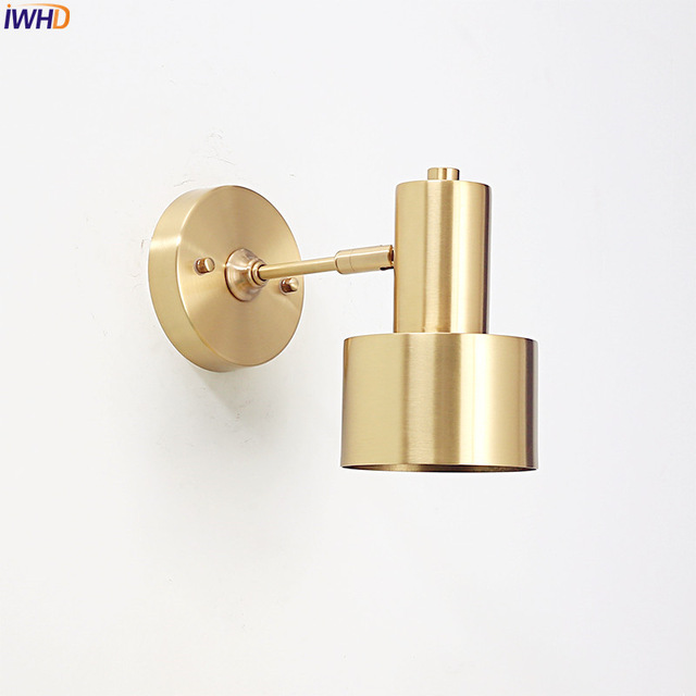 IWHD Modern Nordic LED Wall Lamp Brass Copper Wall Lights Living