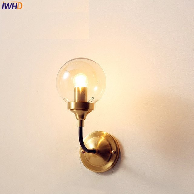 IWHD Modern Nordic Wall Lamp Copper Brass Fixtures For Home Lighting