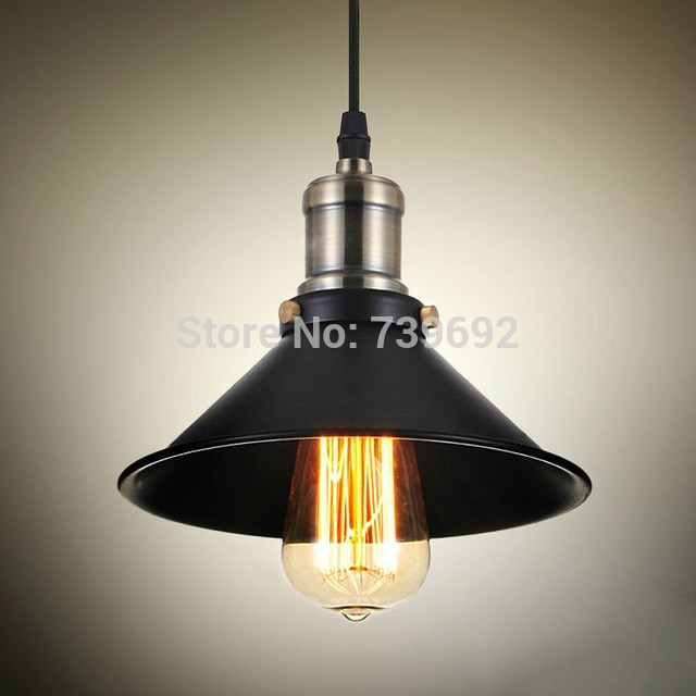 Vintage American country style small black iron pendant lights