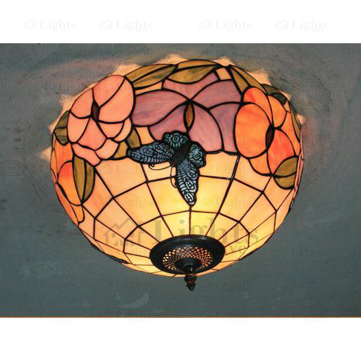 Butterfly Tiffany Country Style Ceiling Lights For Lighting