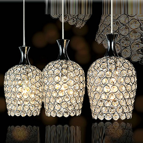 DINGGU Modern 3 Lights Crystal Pendant Lighting for Kitchen Island