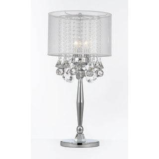 Shop Silver Mist 3 Light Chrome Crystal Table Lamp with White Shade