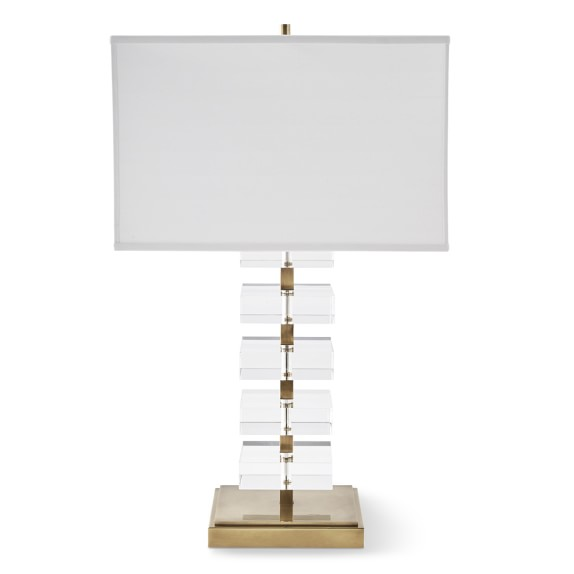 Stacked Crystal Table Lamp, Antique Brass | Williams Sonoma