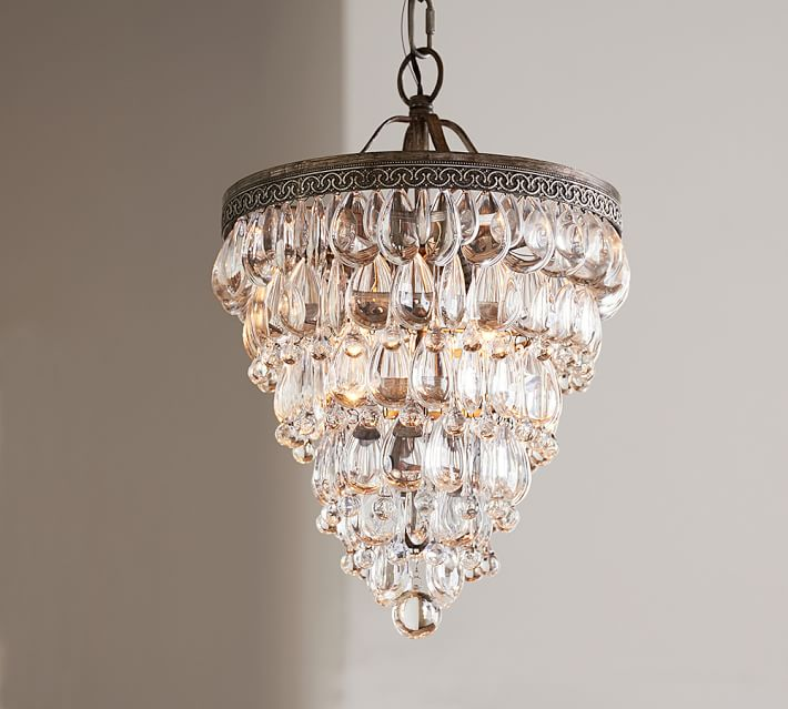 Clarissa Crystal Drop Small Round Chandelier | Pottery Barn