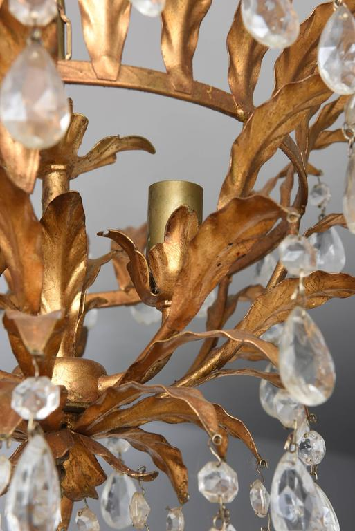 Hollywood Regency or Florentine Style Chandelier Gold with Crystals