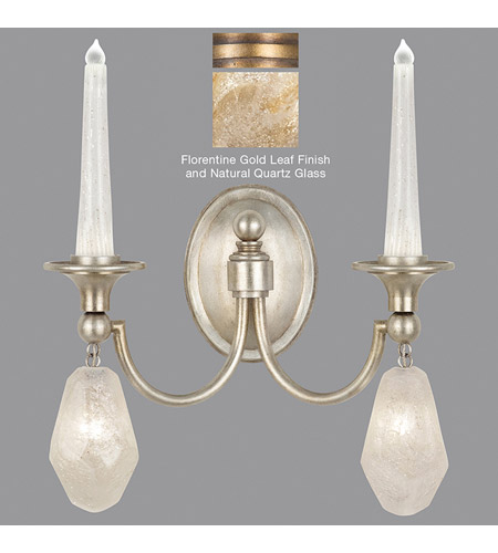 Quartz and Iron 4 Light 15 inch Florentine Gold Leaf Wall Sconce