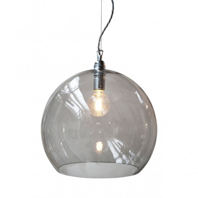 Smokey Grey Blown Large Glass Ceiling Pendant w/ Silver Braided Cable