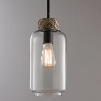 Rope Wrapped Clear Glass Pendant - Shades of Light