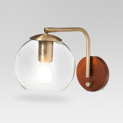 Menlo Glass Globe Wall Light Brass Lamp Only - Project 62™ : Target