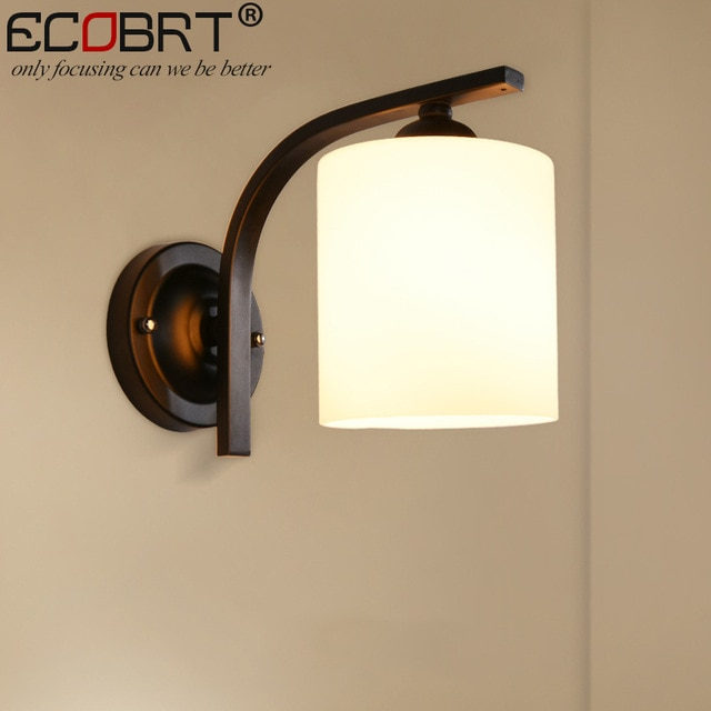 ECOBRT simple modern style black glass wall lamps Indoor bedroom