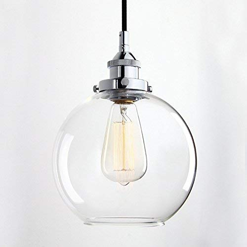 Louvra Glass Pendant Lights Industrial Vintage Clear Ball Shade