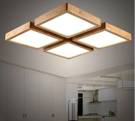 Modern brief Wooden led ceiling light square minimalism ceiling